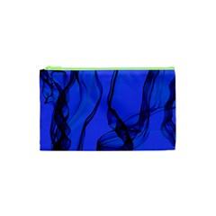 Blue Velvet Ribbon Background Cosmetic Bag (xs) by Nexatart