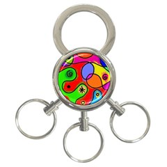 Digitally Painted Patchwork Shapes With Bold Colours 3 Ring Key Chains by Nexatart