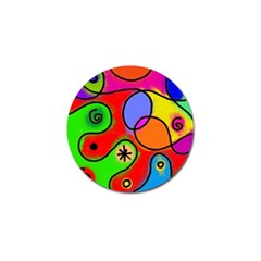 Digitally Painted Patchwork Shapes With Bold Colours Golf Ball Marker (4 Pack) by Nexatart