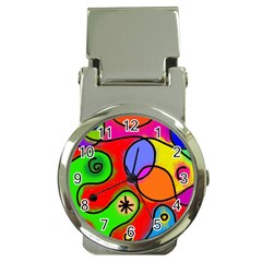 Digitally Painted Patchwork Shapes With Bold Colours Money Clip Watches by Nexatart