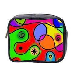 Digitally Painted Patchwork Shapes With Bold Colours Mini Toiletries Bag 2 Side by Nexatart