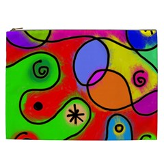 Digitally Painted Patchwork Shapes With Bold Colours Cosmetic Bag (xxl)  by Nexatart