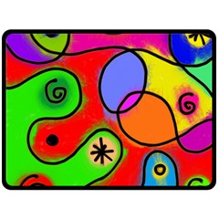 Digitally Painted Patchwork Shapes With Bold Colours Double Sided Fleece Blanket (large)  by Nexatart
