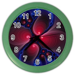 Color Fractal Pattern Color Wall Clocks by Nexatart