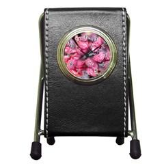 Raspberry Delight Pen Holder Desk Clocks by Nexatart