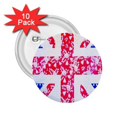 British Flag Abstract British Union Jack Flag In Abstract Design With Flowers 2 25  Buttons (10 Pack)  by Nexatart