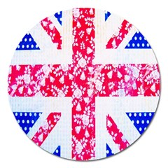 British Flag Abstract British Union Jack Flag In Abstract Design With Flowers Magnet 5  (round) by Nexatart