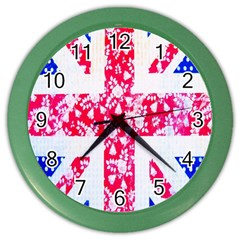 British Flag Abstract British Union Jack Flag In Abstract Design With Flowers Color Wall Clocks by Nexatart