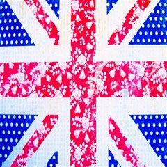British Flag Abstract British Union Jack Flag In Abstract Design With Flowers Magic Photo Cubes by Nexatart