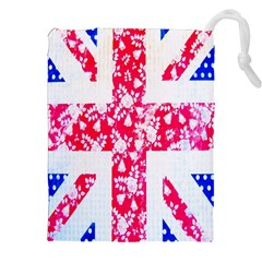 British Flag Abstract British Union Jack Flag In Abstract Design With Flowers Drawstring Pouches (XXL) by Nexatart