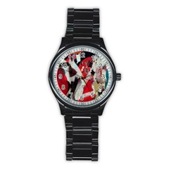 Abstract Graffiti Background Wallpaper Of Close Up Of Peeling Stainless Steel Round Watch by Nexatart