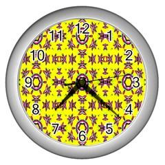 Yellow Seamless Wallpaper Digital Computer Graphic Wall Clocks (silver)