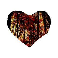 Forest Trees Abstract Standard 16  Premium Flano Heart Shape Cushions by Nexatart