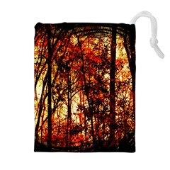 Forest Trees Abstract Drawstring Pouches (extra Large) by Nexatart