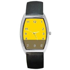 Trolley Yellow Brown Tropical Barrel Style Metal Watch by Jojostore