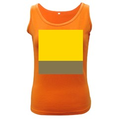 Trolley Yellow Brown Tropical Women s Dark Tank Top by Jojostore