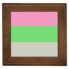 Grey Green Pink Framed Tiles by Jojostore