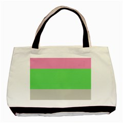 Grey Green Pink Basic Tote Bag by Jojostore
