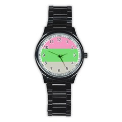 Grey Green Pink Stainless Steel Round Watch by Jojostore