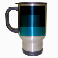 Line Color Black Green Blue White Travel Mug (silver Gray) by Jojostore