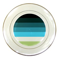 Line Color Black Green Blue White Porcelain Plates by Jojostore