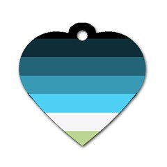 Line Color Black Green Blue White Dog Tag Heart (two Sides) by Jojostore