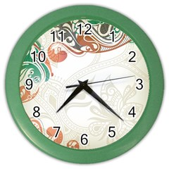 Flower Floral Tree Leaf Color Wall Clocks by Jojostore