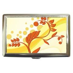 Floral Flower Gold Leaf Orange Circle Cigarette Money Cases by Jojostore
