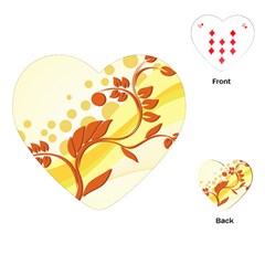 Floral Flower Gold Leaf Orange Circle Playing Cards (heart)  by Jojostore