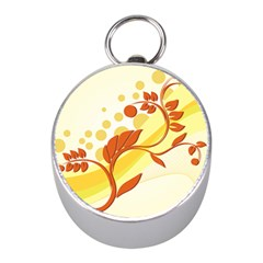 Floral Flower Gold Leaf Orange Circle Mini Silver Compasses by Jojostore