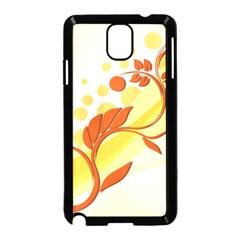 Floral Flower Gold Leaf Orange Circle Samsung Galaxy Note 3 Neo Hardshell Case (black) by Jojostore