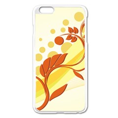 Floral Flower Gold Leaf Orange Circle Apple Iphone 6 Plus/6s Plus Enamel White Case by Jojostore