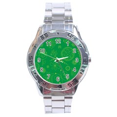 Green Floral Star Butterfly Flower Stainless Steel Analogue Watch