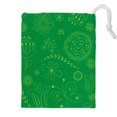 Green Floral Star Butterfly Flower Drawstring Pouches (xxl) by Jojostore