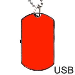 Plain Orange Red Dog Tag Usb Flash (two Sides) by Jojostore