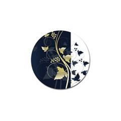 Tree Leaf Flower Circle White Blue Golf Ball Marker by Jojostore