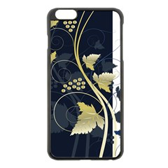 Tree Leaf Flower Circle White Blue Apple Iphone 6 Plus/6s Plus Black Enamel Case by Jojostore