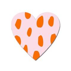 Polka Dot Orange Pink Heart Magnet by Jojostore