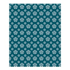 Teal And White Pentacle Pagan Wiccan Shower Curtain 60  X 72  (medium) by cheekywitch