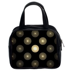 Gray Balls On Black Background Classic Handbags (2 Sides) by Nexatart