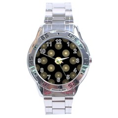 Gray Balls On Black Background Stainless Steel Analogue Watch by Nexatart