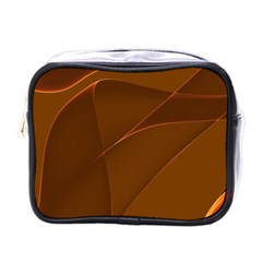Brown Background Waves Abstract Brown Ribbon Swirling Shapes Mini Toiletries Bags by Nexatart