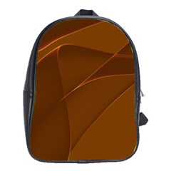 Brown Background Waves Abstract Brown Ribbon Swirling Shapes School Bags (xl)  by Nexatart