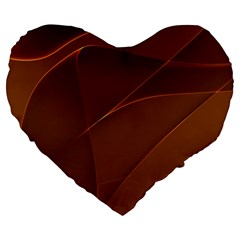 Brown Background Waves Abstract Brown Ribbon Swirling Shapes Large 19  Premium Heart Shape Cushions by Nexatart