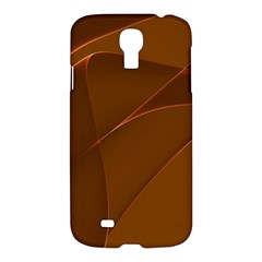Brown Background Waves Abstract Brown Ribbon Swirling Shapes Samsung Galaxy S4 I9500/i9505 Hardshell Case by Nexatart