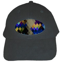 Background Of Blue Gold Brown Tan Purple Diamonds Black Cap by Nexatart