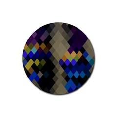 Background Of Blue Gold Brown Tan Purple Diamonds Rubber Coaster (round)