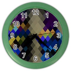 Background Of Blue Gold Brown Tan Purple Diamonds Color Wall Clocks by Nexatart