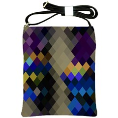 Background Of Blue Gold Brown Tan Purple Diamonds Shoulder Sling Bags by Nexatart