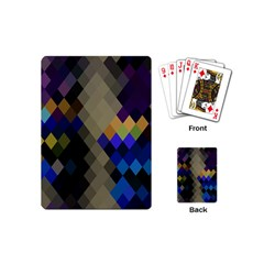 Background Of Blue Gold Brown Tan Purple Diamonds Playing Cards (mini)  by Nexatart